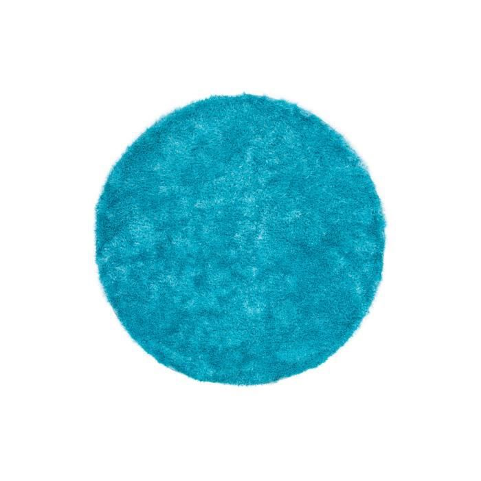 tapis shaggy uni cyan 35 mm 200x200 cm rond achat vente tapis cdiscount. Black Bedroom Furniture Sets. Home Design Ideas