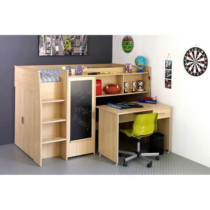 lit combin enfant 90x200 cm ch ne clair tom achat vente lit combine lit combin enfant. Black Bedroom Furniture Sets. Home Design Ideas