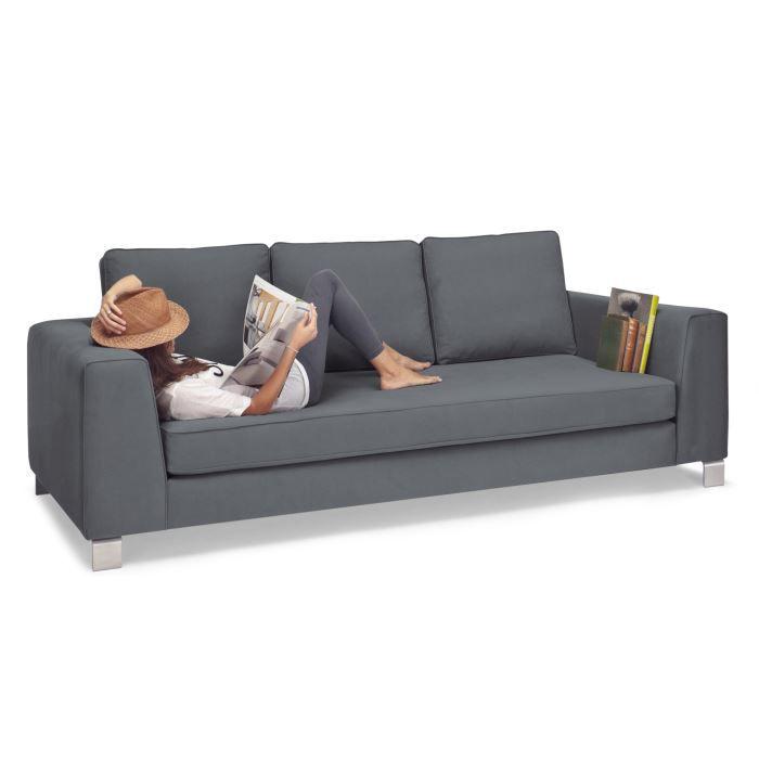 Belfort canap 3 places gris basalte achat vente canap sofa divan - Cdiscount soldes canape ...
