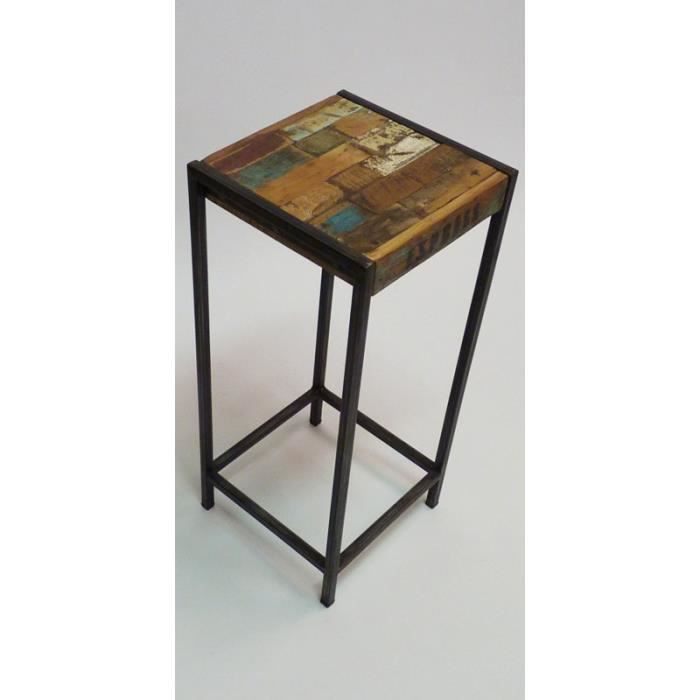 tabouret industriel achat vente tabouret pin massif m tal bois cdiscount. Black Bedroom Furniture Sets. Home Design Ideas