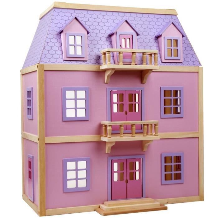 Grande maison de poupees meublee jouet en bois 19 pcs rose - Construire des jouets en bois gratuit ...