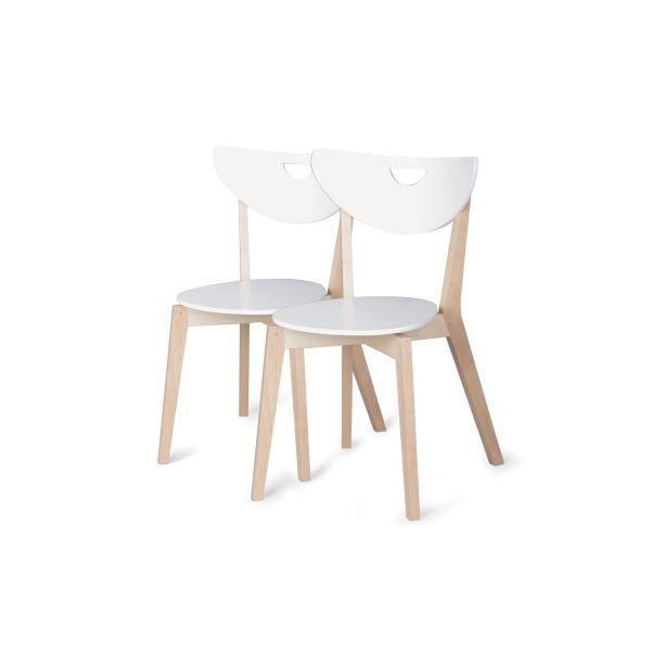 lot de 2 chaises en bois peppi laqu blanc achat. Black Bedroom Furniture Sets. Home Design Ideas