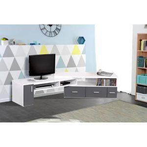 Slide meuble tv extensible 111 189 cm blanc et gris achat vente meuble tv - Meuble tv extensible ...