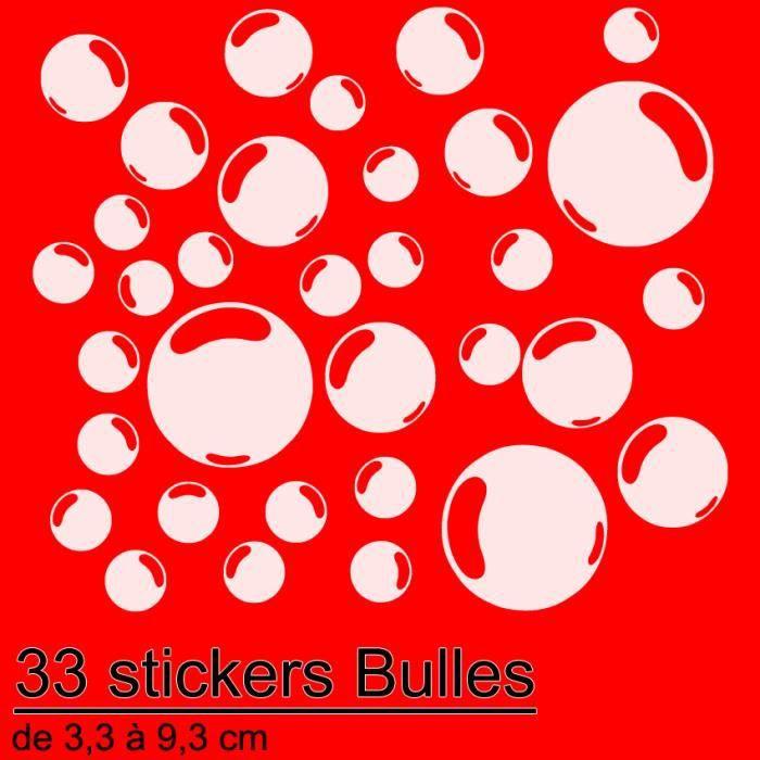 33 stickers autocollant bulles d co salle de bain en blanc. Black Bedroom Furniture Sets. Home Design Ideas