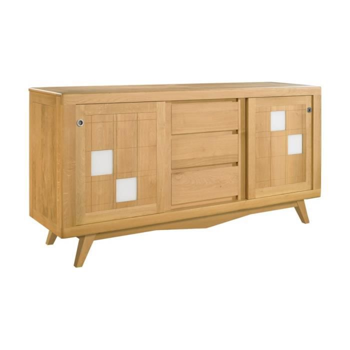 Buffet scandinave ch ne massif clair 2 portes coulissantes 3 tiroirs d cor ve - Buffet chene clair massif ...