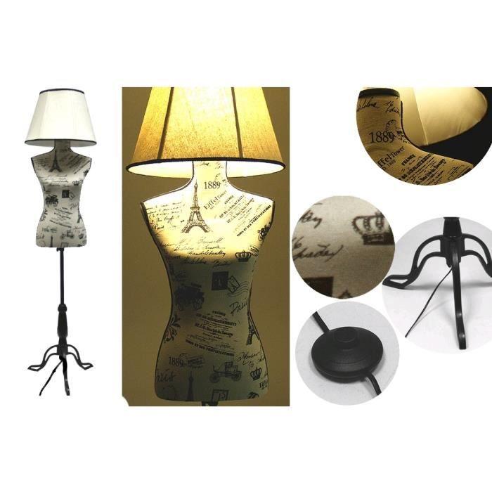 Lampe abat jour buste mode sur pied achat vente lampe for Abat jour lampe sur pied