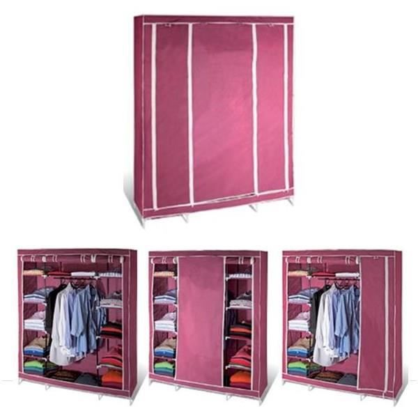 armoire de rangement bordeaux dressing penderie xxl tissu achat vente armoire de chambre. Black Bedroom Furniture Sets. Home Design Ideas