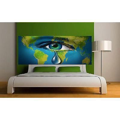 sticker t te de lit d coration murale oeil r f 3665 5 dimensions dimensions 340x132cm. Black Bedroom Furniture Sets. Home Design Ideas