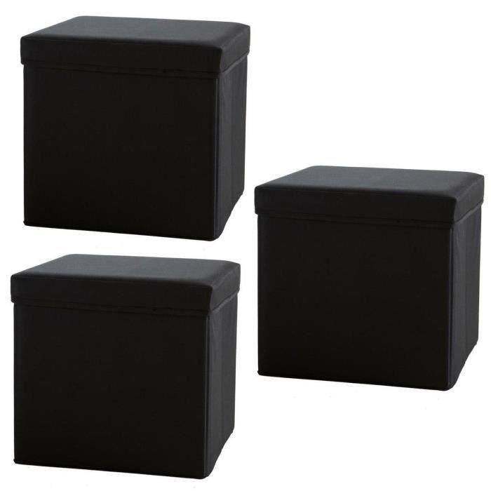 promo lot 3 poufs pliables coffres de rangement. Black Bedroom Furniture Sets. Home Design Ideas