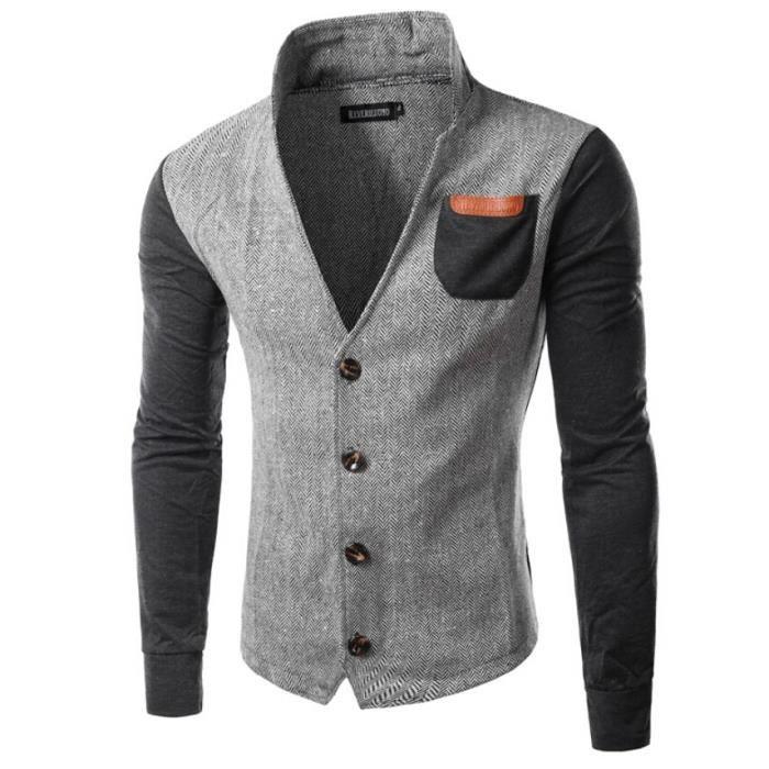 blazer homme d contract sweat shirt en couleu gris achat vente gilet de costume cdiscount. Black Bedroom Furniture Sets. Home Design Ideas
