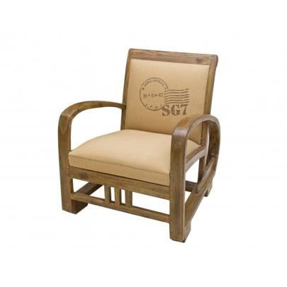 fauteuil vintage en tissu travel beige achat vente. Black Bedroom Furniture Sets. Home Design Ideas