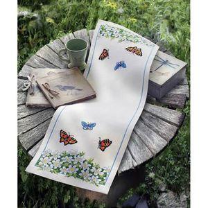kit chemin de table broder point de croix a achat vente kit ouvrage couture kit. Black Bedroom Furniture Sets. Home Design Ideas