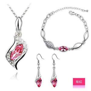 PARURE Régler  bijoux Femme- cristal  Rose- argent 925 -