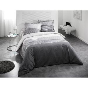 parure de lit 240x260 gris achat vente parure de lit 240x260 gris pas cher cdiscount. Black Bedroom Furniture Sets. Home Design Ideas