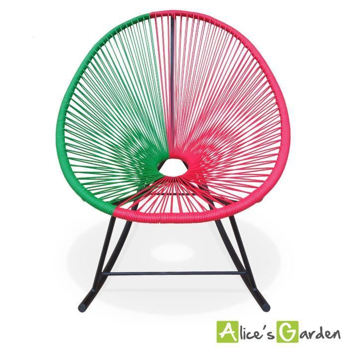 fauteuil acapulco bascule cordage vert rouge achat vente chaise fauteuil jardin fauteuil. Black Bedroom Furniture Sets. Home Design Ideas