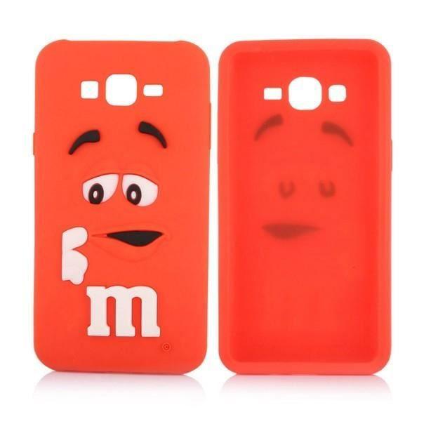 Coque 3d en silicone rouge orang m m 39 s pour samsung for Enlever silicone sur verre