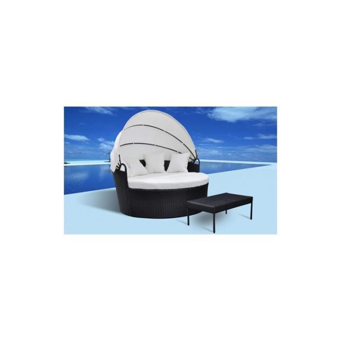 canap de jardin rond en r sine tress e noir avec table achat vente chaise fauteuil jardin. Black Bedroom Furniture Sets. Home Design Ideas