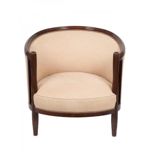 fauteuil tonneau 1930 achat vente fauteuil marron cdiscount. Black Bedroom Furniture Sets. Home Design Ideas