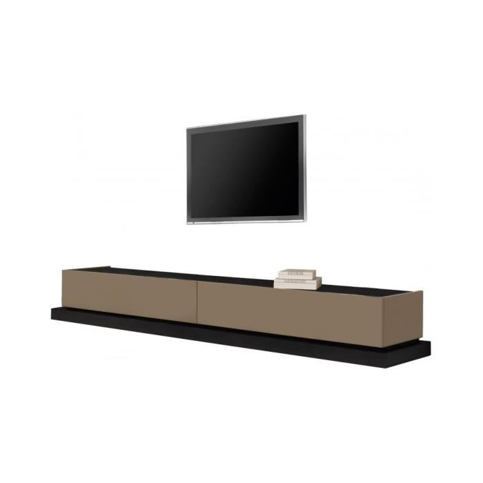 Banc tv design laque et ch ne 2 tiroirs achat vente for Banc tv chene