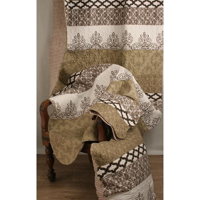 couvre lit boutis 230x250 2 taies 63x63 cm lignes arabesques beige marron ecru achat. Black Bedroom Furniture Sets. Home Design Ideas