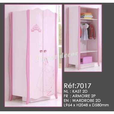Armoire 2 portes f1 rose achat vente armoire de for Chambre adulte sans armoire