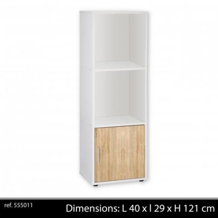 Meuble colonne blanc 3 niveaux 1 porte couleur ch ne for Meuble de rangement colonne