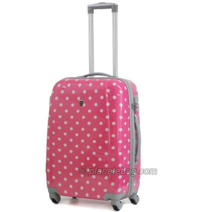 valise pois trolley 4 roues rigide 60cm rose rose achat vente valise bagage. Black Bedroom Furniture Sets. Home Design Ideas