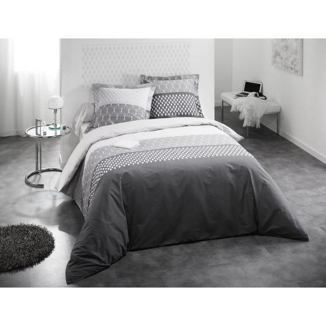 parure de lit aura couleur blanc gris taille 240x260 achat vente parure de drap. Black Bedroom Furniture Sets. Home Design Ideas