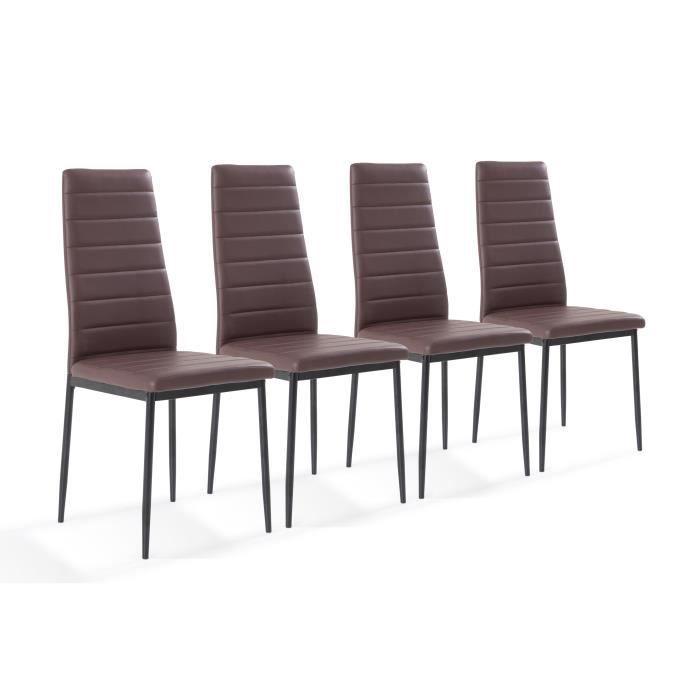 Tessa lot de 4 chaises de salle manger marron achat for Soldes chaises salle a manger