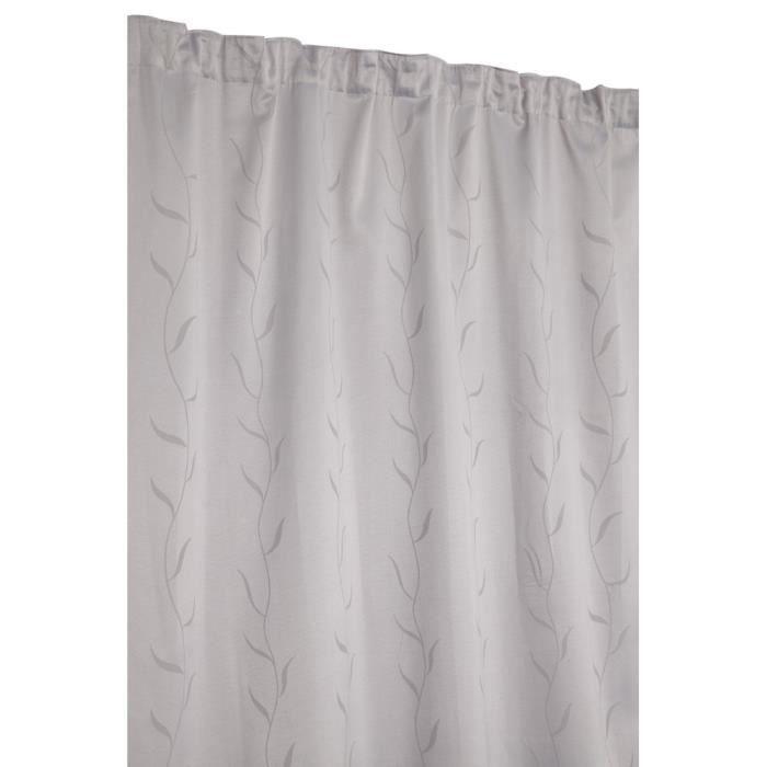 rideau jacquard grande hauteur galon fronceur motif vegetal gris argent achat vente rideau. Black Bedroom Furniture Sets. Home Design Ideas