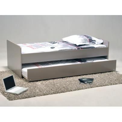 lit gigogne nolan 90x190cm laqu gris achat vente structure de lit cdiscount. Black Bedroom Furniture Sets. Home Design Ideas