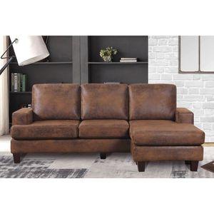canap d angle marron achat vente canap d angle marron pas cher les soldes sur cdiscount. Black Bedroom Furniture Sets. Home Design Ideas