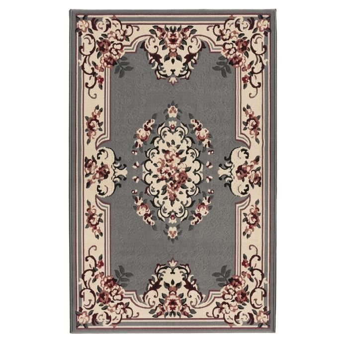 Luxus tapis de salon oriental gris 160x225 cm achat vente tapis 100 polypropyl ne cdiscount for Salon oriental gris