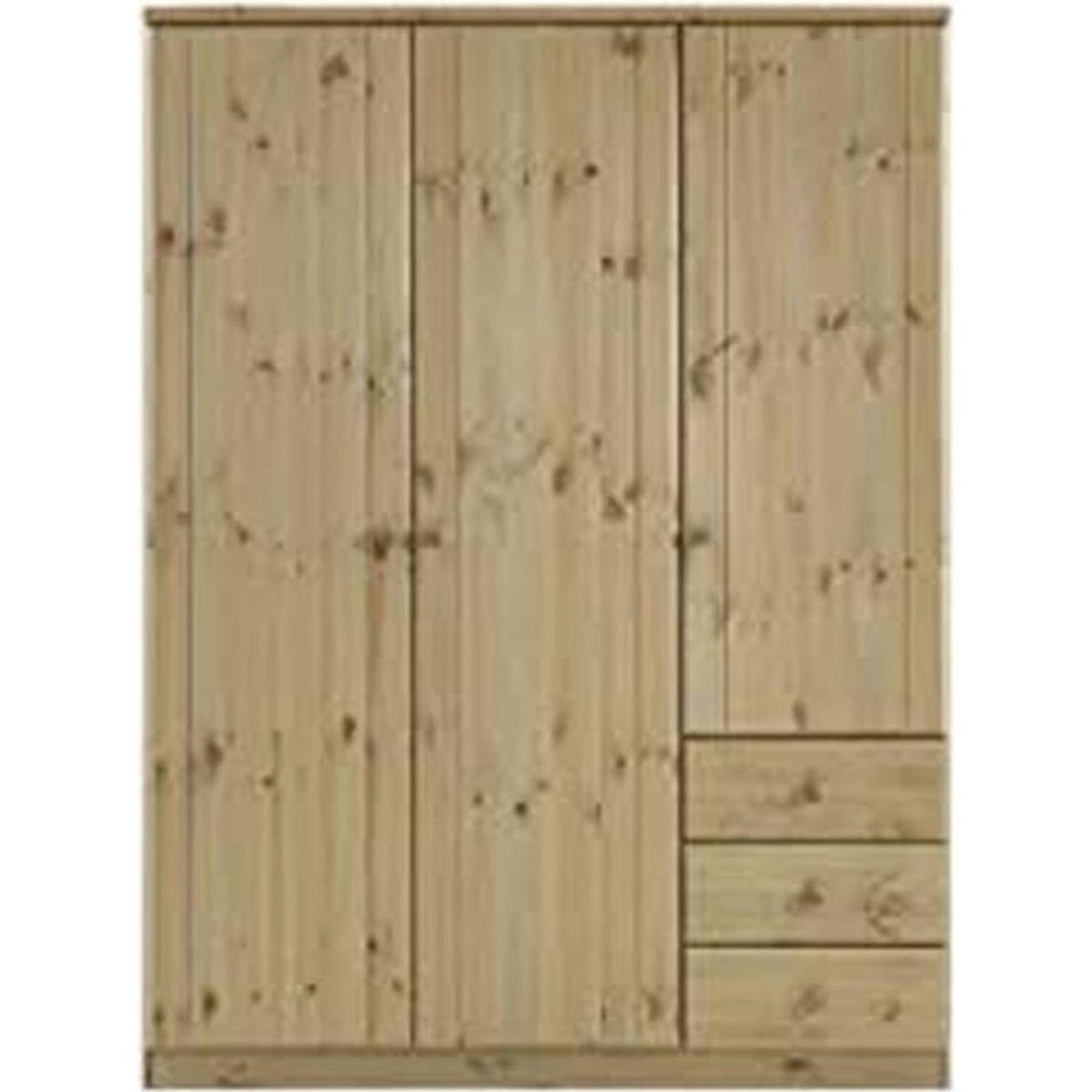 armoire avec 3 portes coloris naturel en pin massif dim 202 x 151 x 60 cm achat vente. Black Bedroom Furniture Sets. Home Design Ideas