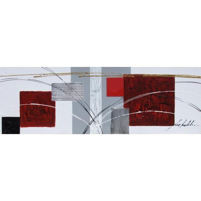 cubic tableau d co toile peinte la main 30x90 cm blanc. Black Bedroom Furniture Sets. Home Design Ideas