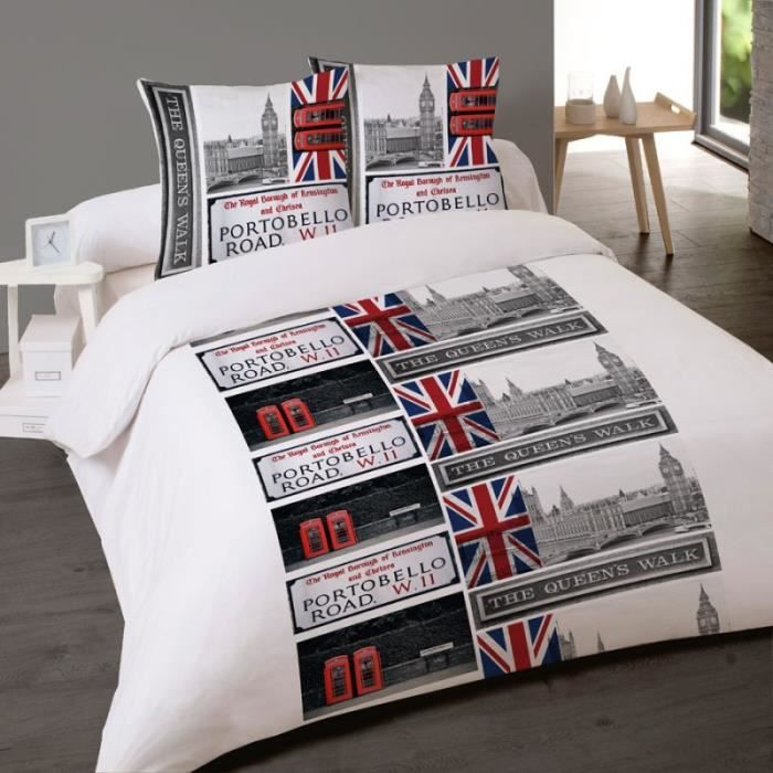 housse de couette londres portobello road 200 x 200 2 taies achat vente housse de couette. Black Bedroom Furniture Sets. Home Design Ideas