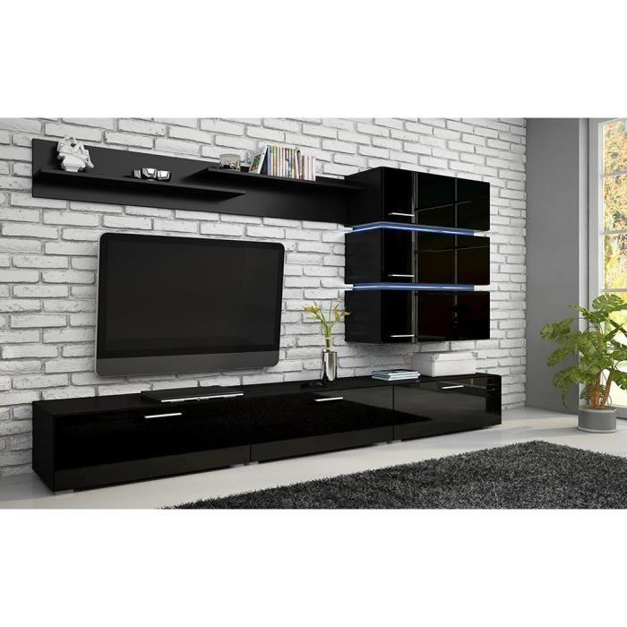 Meuble de salon meuble tv complet ergos noir mat for Salon moderne complet