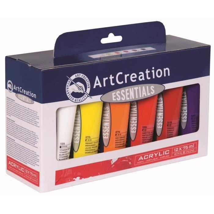 artcreation essential acrylique 75ml set 12 tubes achat vente peinture acrylique artcreation. Black Bedroom Furniture Sets. Home Design Ideas