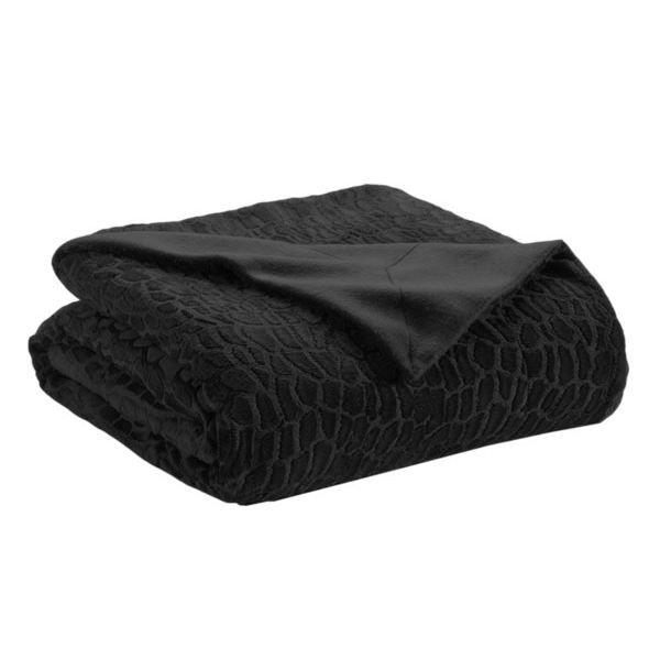 plaid fausse fourrure toudou noir 150 x 200 cm achat vente couverture plaid cdiscount. Black Bedroom Furniture Sets. Home Design Ideas