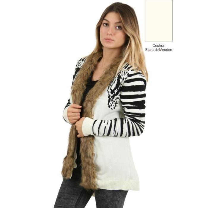 Gilet motifs z br orn d 39 une blanc de meudon blanc achat vente gilet cardigan cdiscount - Blanc de meudon prix ...