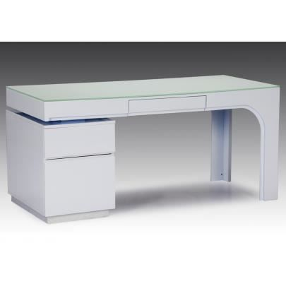 bureau avec caisson odessa mdf laqu blanc et achat vente bureau bureau avec caisson. Black Bedroom Furniture Sets. Home Design Ideas