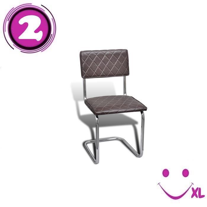 2 chaises de salle manger en similicuir brun achat for Chaise de salle a manger brun