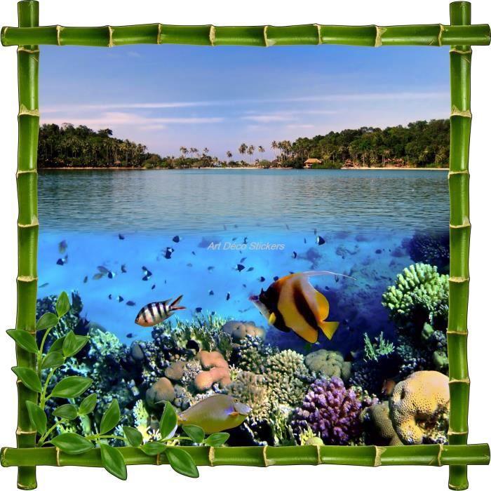 Sticker mural trompe l 39 oeil d co bambous aquarium for Aquarium decoratif mural