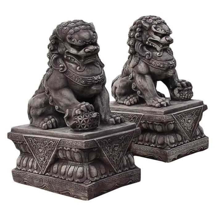 Chien fu foo lion chinois thailande statue feng shui for Decoration jardin chinois