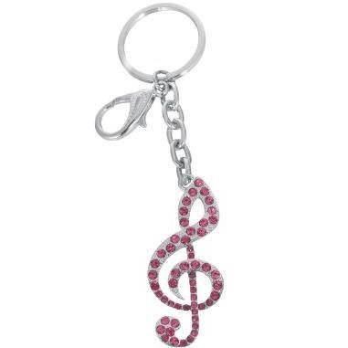 Porte cles clef de sol rose achat vente porte cl s for Meuble porte clef