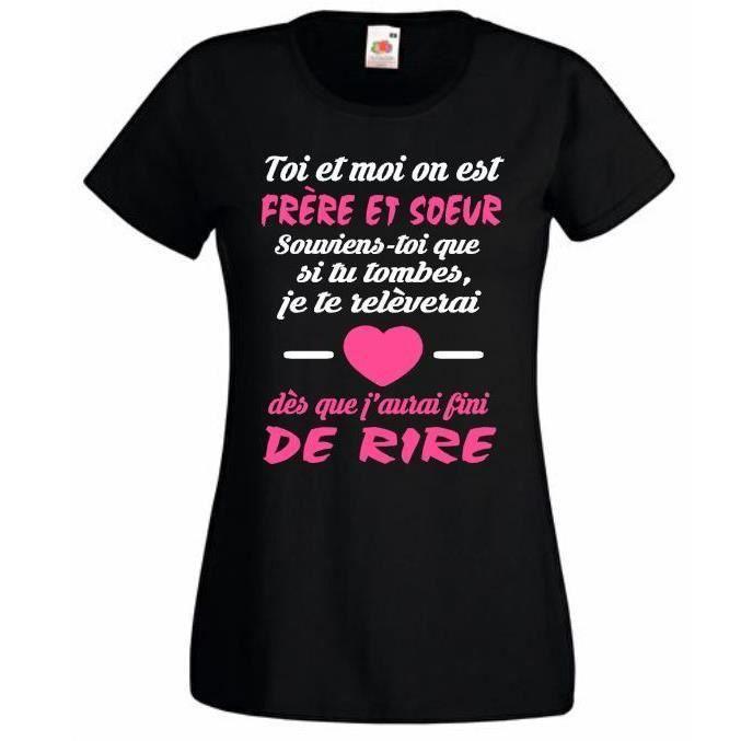 Tee shirt personnalis femme toi et moi on est fr re et soeur id e cadeau d 39 anniveraire no l - Faire tee shirt personnalise ...