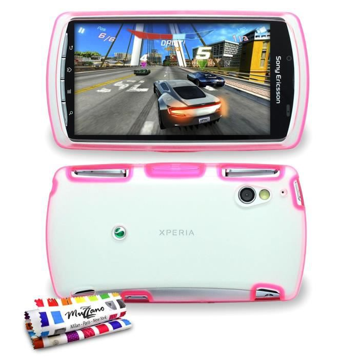 coque hybrid xperia play sony rose   achat coque