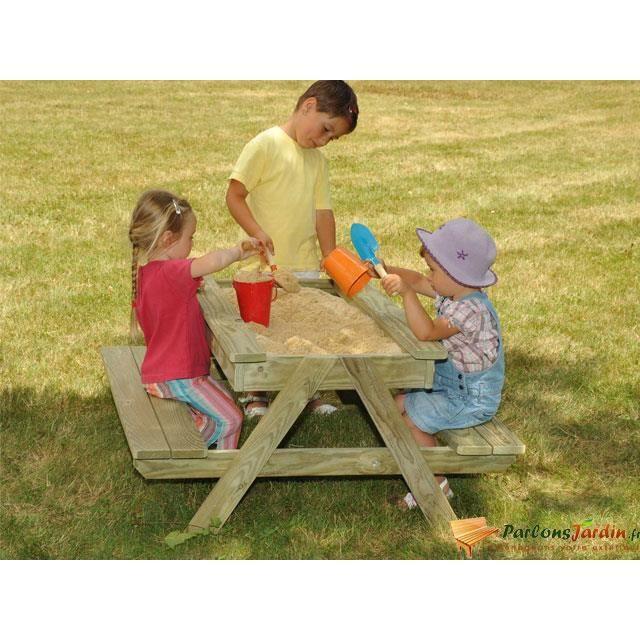 Table de pique nique bac sable en bois pour e achat - Table bac a sable bois ...