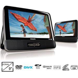 """PHILIPS PD9122 Lecteur DVD Portable - Double écran 9"""" LCD (22.9 cm) couleur - Enceintes stéréo intégrées - Compatible DVD, DVD+/-R, DVD+/-RW, (S)VCD, CD - Puissance de sortie: 250 mW RMS (enceintes intégrées) - Puissance de sortie (RMS): 10 mW RMS (é"""