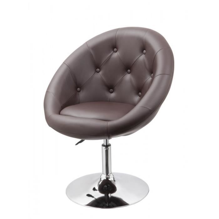 Fauteuil oeuf capitonn design cuir pu chaise bureau marron fal09009 achat - Fauteuil oeuf occasion ...